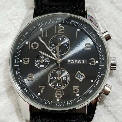 3afbff093f084 Fossil Chronograph Black Watch Stainless Steel New battery a - Depop