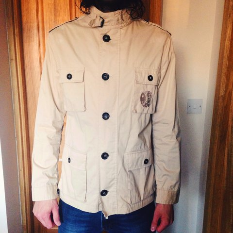 Men S Pretty Green Beige Safari Jacket Belstaff Style Size Depop