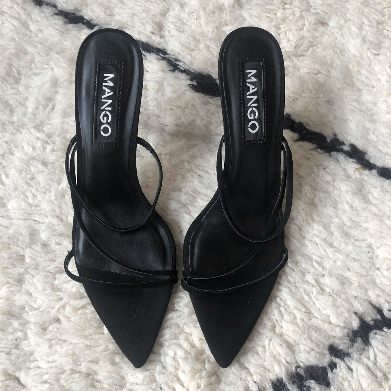 MANGO BARELY THERE STRAPPY BLACK HEELS