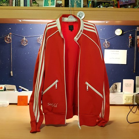 25469dac6a11 Vintage Adidas Deadstock jacket🔴⚪🔴 SUPER RARE FIND - from - Depop