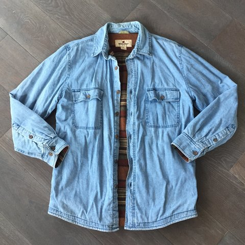 e80cec4a65 Vintage Men s Woolrich Fleece Lined Denim Shirt Jacket