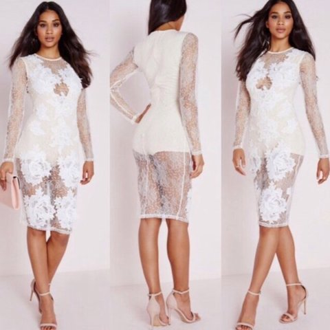 ed1f5795386 Missguided brand new white nude size 8 lace applique dress - Depop