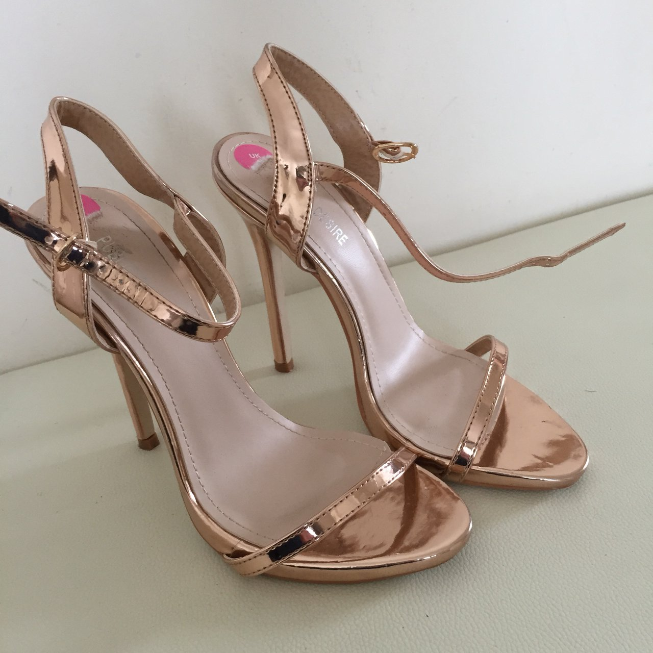 38498fa5df12 Rose gold barely there strappy sandals Worn once ! Look on - Depop