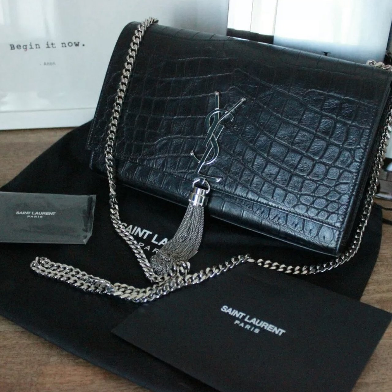 0f92ede54524 YSL Saint Laurent Kate Medium Bag In Crocodile Shiny Black - Depop