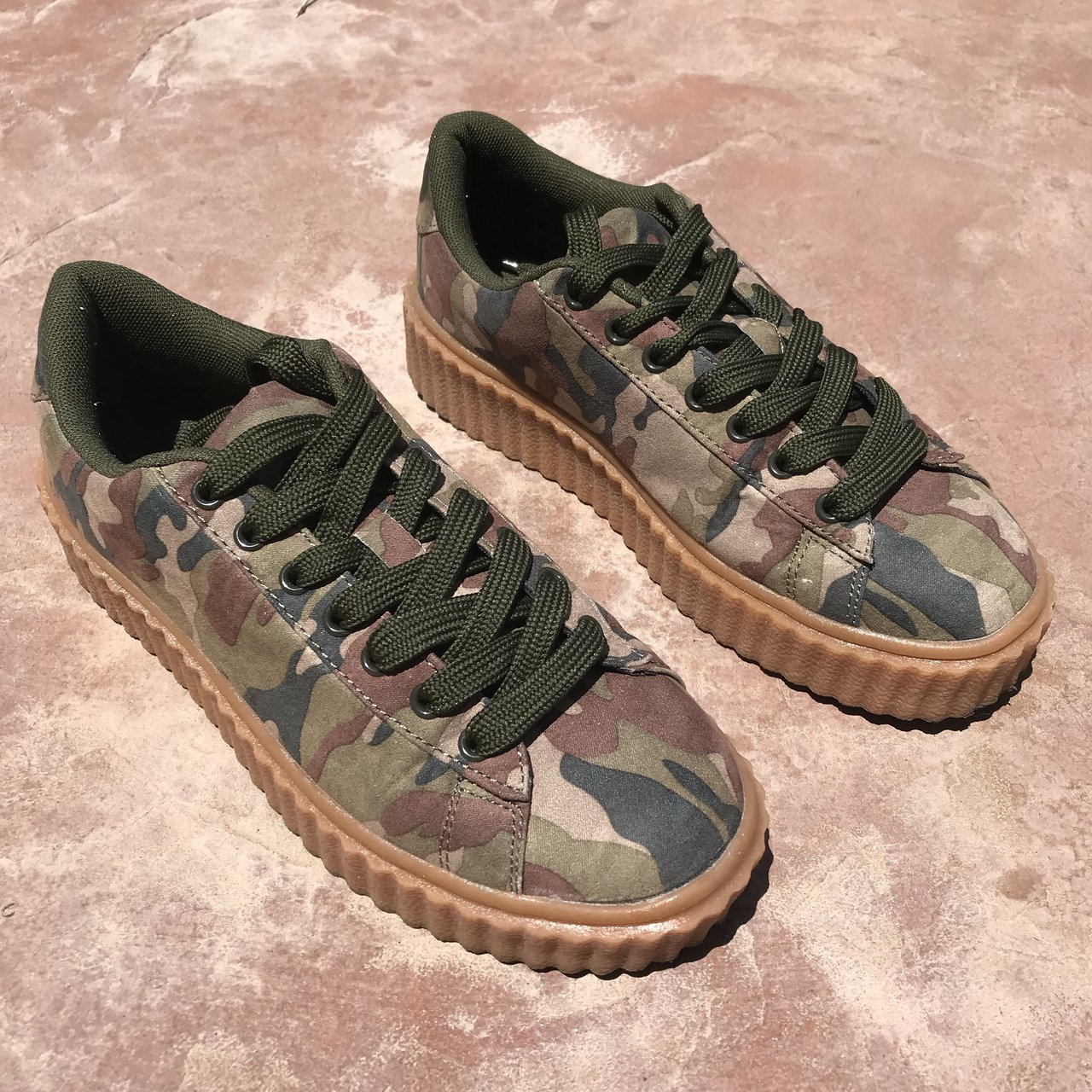 20f5b00d639c I m a Survivor  camo creeper sneakers. Similar to the Fenty - Depop
