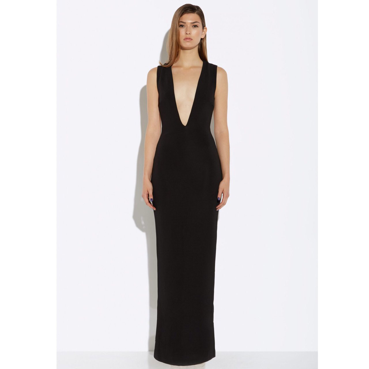 6ad08b9d04 AQAQ or Aqua Viena Black Deep Plunge Maxi Dress. Has a deep - Depop