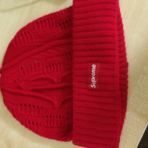 Supreme Red Cosby Beanie DS 10 10 condition. Worn once. - Depop b1cc0b96ba9