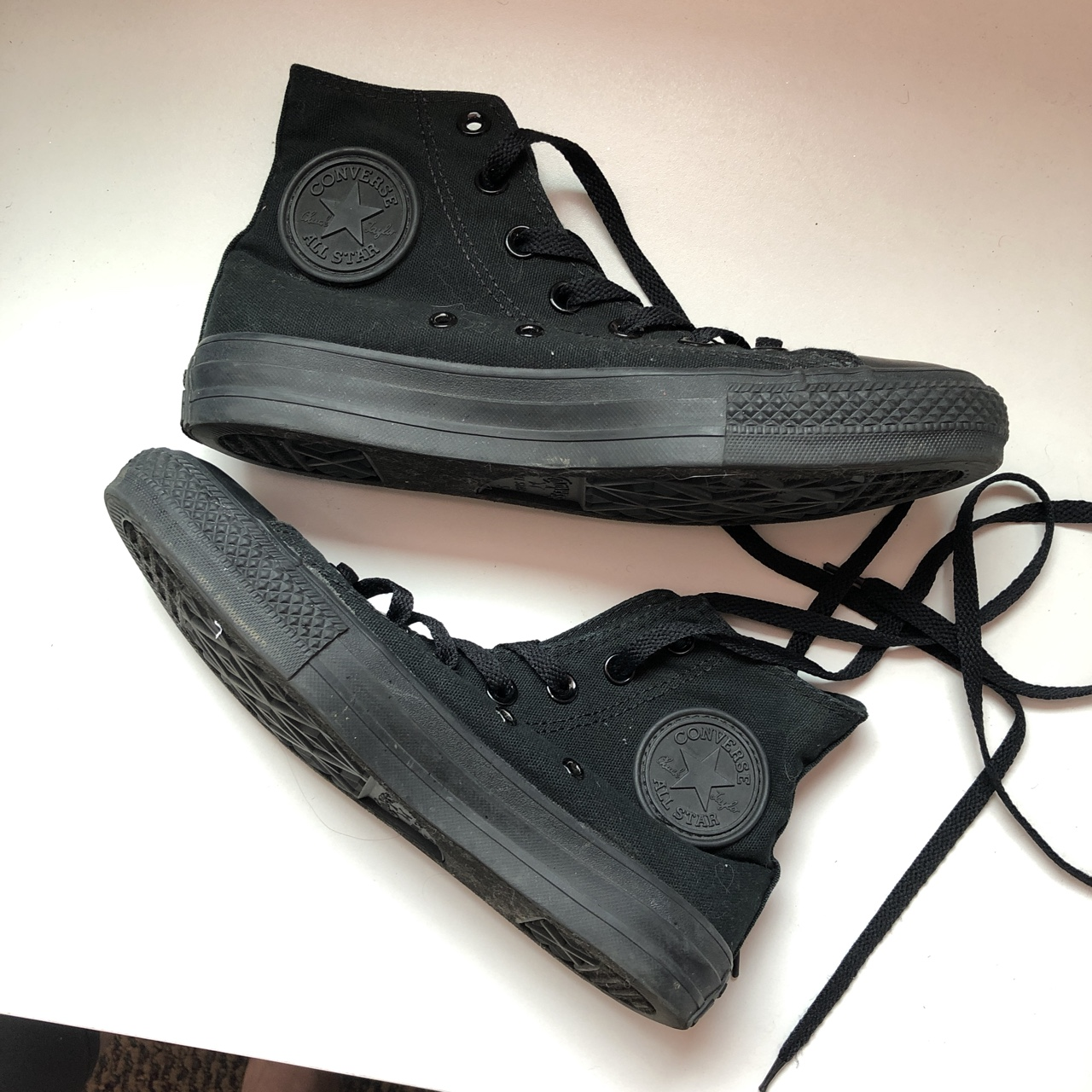 Converse all black high tops. Size 5 in