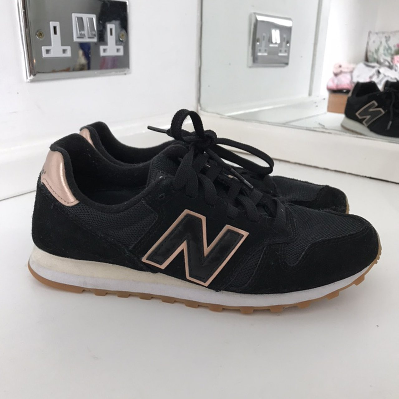 new balance 373 womens black and rose gold