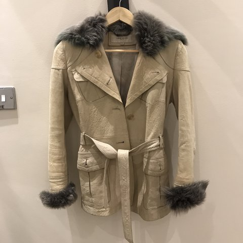 0500b62ced0 @katherinepj. last year. London, United Kingdom. Karen Millen leather jacket  with shearling cuffs and collar ...
