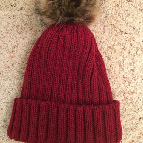 Winter hat. Burgundy beanie hat with fluffy poof on top - Depop a7fc6a7361b5