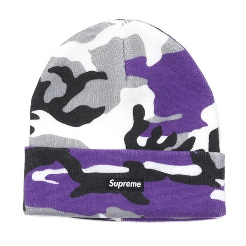 43dfce70561 Supreme Purple camo beanie FW16 • This item is sold out - Depop