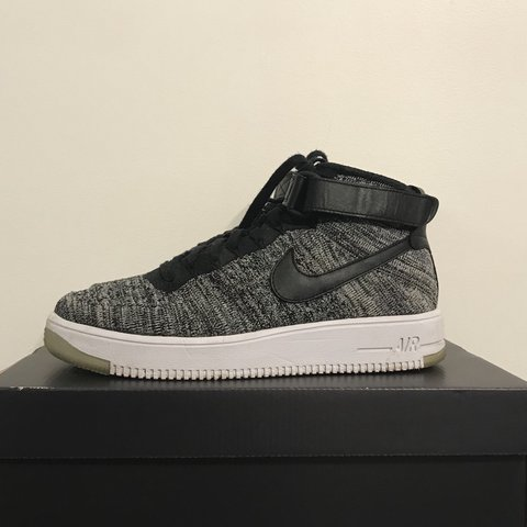 dbd321fe94af Nike flyknit Air Force 1 Colour  Oreo white and grey 9 10 - Depop