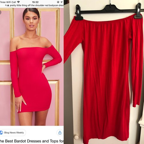 676a9b81553 Red pretty little thing off the shoulder dress. Size 8. Worn - Depop