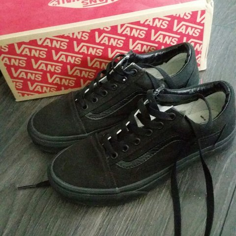 All black old skool vans size 5 worn twice (reserved) - Depop 9d93d813d