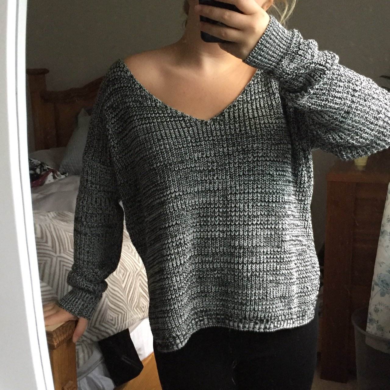 1515f69e0a Boohoo black and white salt and pepper V neck knitted SO and - Depop
