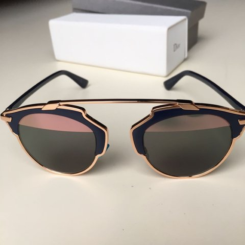 19bac26717984 Dior so real rose gold and navy great condition - Depop