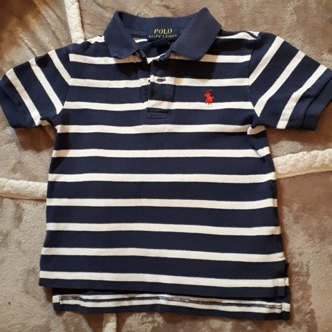 34bb14d7 @euj3. 4 months ago. Wirral, GB. Boys Navy and white stripe Ralph Lauren  polo t-shirt. Age 2 years. In good used condition.