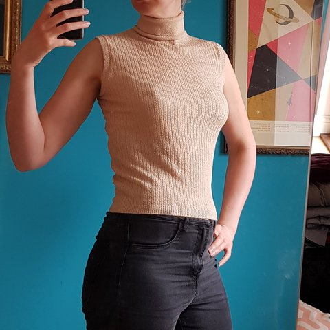 ae0849c3351b4 Vintage 1980s gold roll neck sleeveless knitted sweater Size - Depop