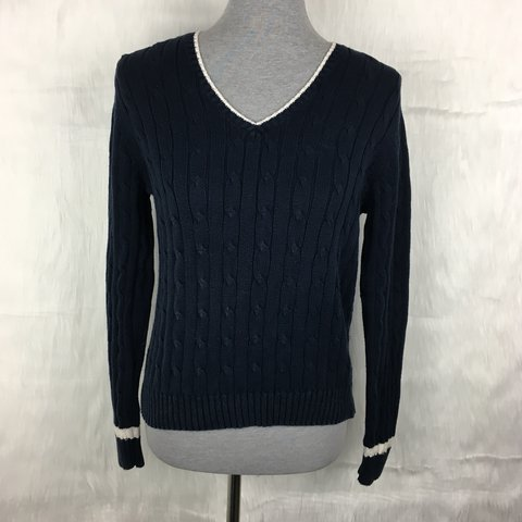 Chaps Navy Blue Cable Knit Sweater White Neckline And The Depop