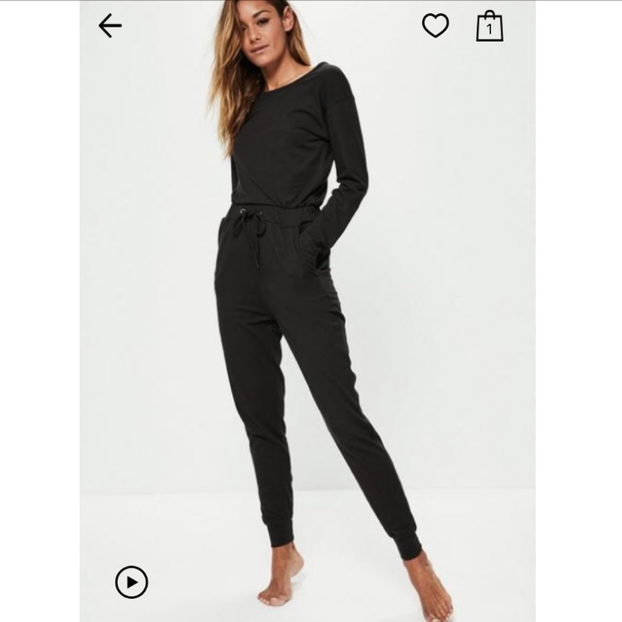6462c930614 Missguided black casual loungewear jumpsuit Size UK new for - Depop