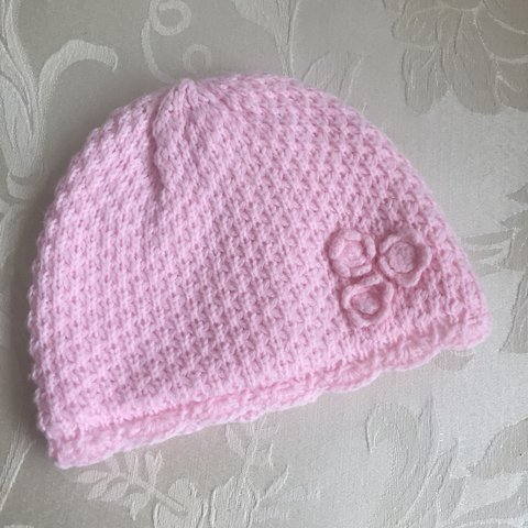 Pink Knitted Baby Hat With Flowering Detail Looks Very On Depop