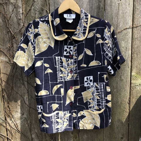 92b815b6 Deal of the Day. Vintage 90's rayon/acetate blend shirt. and - Depop