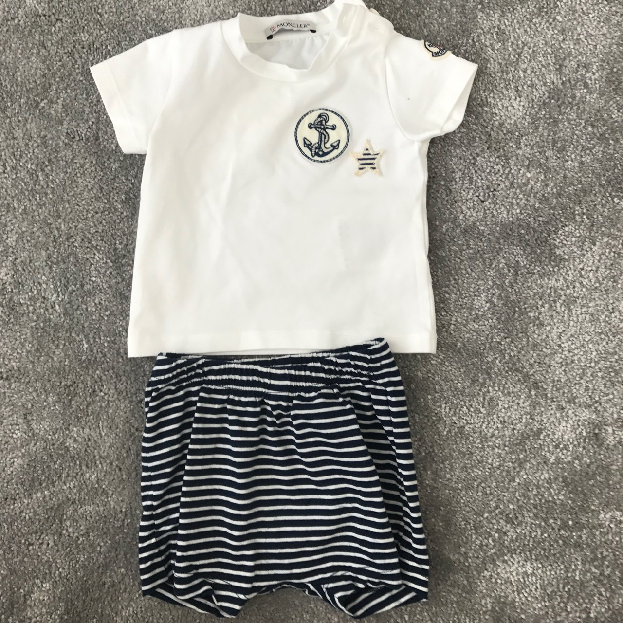 a1382dbecce2 Moncler baby boy top and shorts. Size 3 6 months. Worn only - Depop