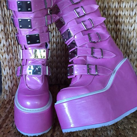 1d8ed26a5f5 Amazing pink trinity boots by Demonia. Front buckles in with - Depop