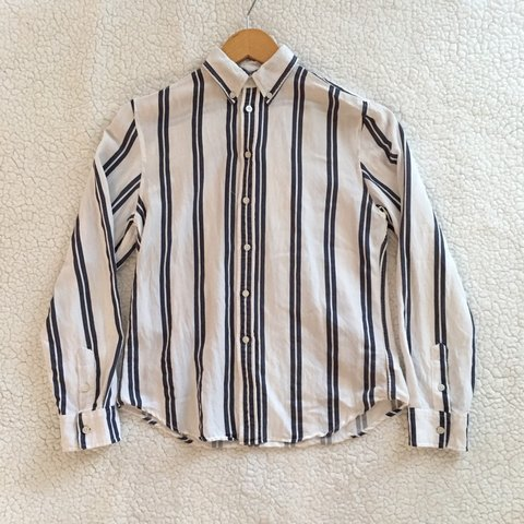 fd0683973635c Brandy Melville rare white double striped Isabela button an - Depop