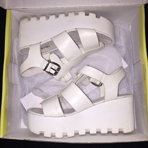 6419fac863c7 PRICE DROP 🌬 All white platform sandals with buckles from - Depop