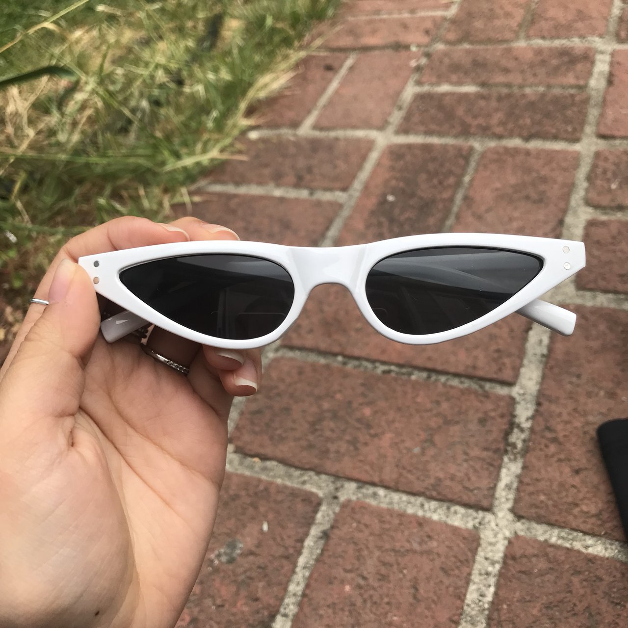 480f6eef0e5 Cateye Sunglasses in White White frames with black lenses.   - Depop