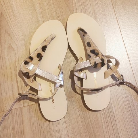 6a5b9e064472 @liv897. 3 years ago. United Kingdom. Warehouse Leopard thong sandals ...