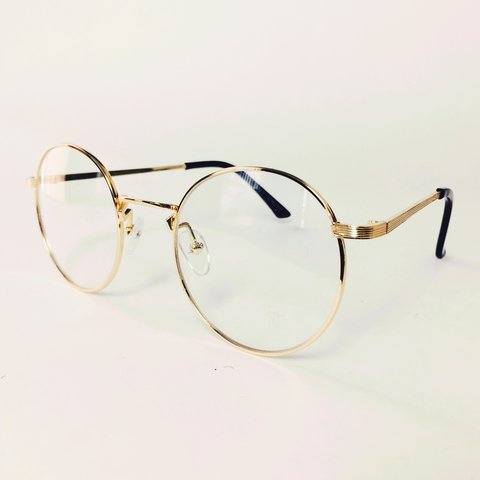2953d4ac4b1d6 CLEAR VINTAGE GOLD ROUND LENS GLASSES WITH METALLIC FRAME IS - Depop