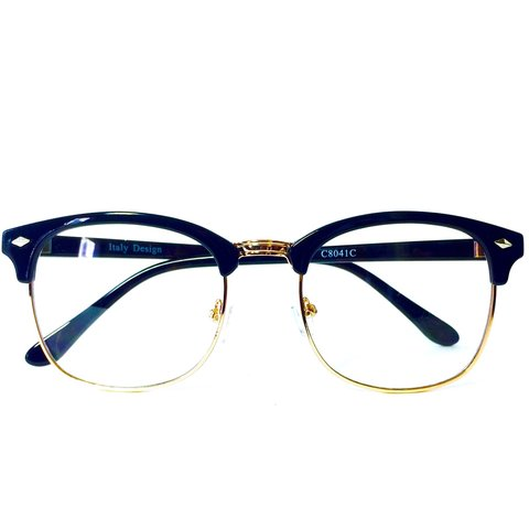 1545bb75146bd Clubmaster Style Glasses w Clear Lens And Gold Rim •Style  - Depop