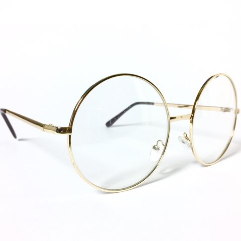 57e21aa04d 90 s OVERSIZED GOLD RIM ROUND FRAME CLEAR LENS GLASSES 60mm - Depop