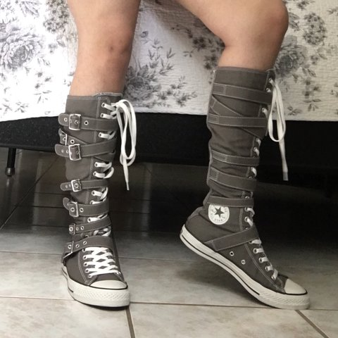 5c6ded258ee74a Super cool pair of Converse brand XXHI knee high top zip  up - Depop