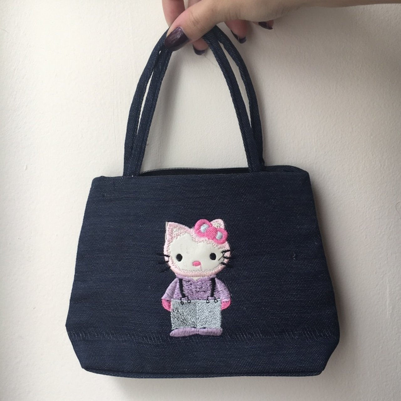 accdadf466b4 Adorable dark blue denim colored mini Hello Kitty bag in Has - Depop