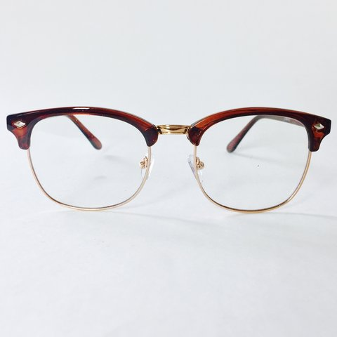 2665a85d1b707 Auburn Gold Clear Lens CLUBMASTER Glasses ~ New with tags ~ - Depop