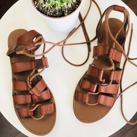 724fa979a425 Forever 21 Brown Lace Up Gladiator Sandals Size 8 Gently - Depop