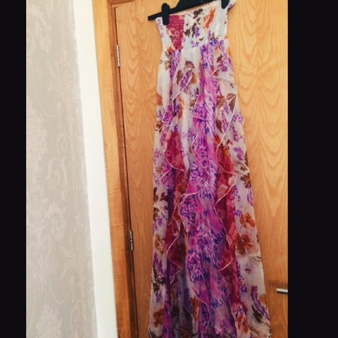 b4a00dc95ad Colourful Maxi Dress with bandeau stretchy top. Finishes the - Depop