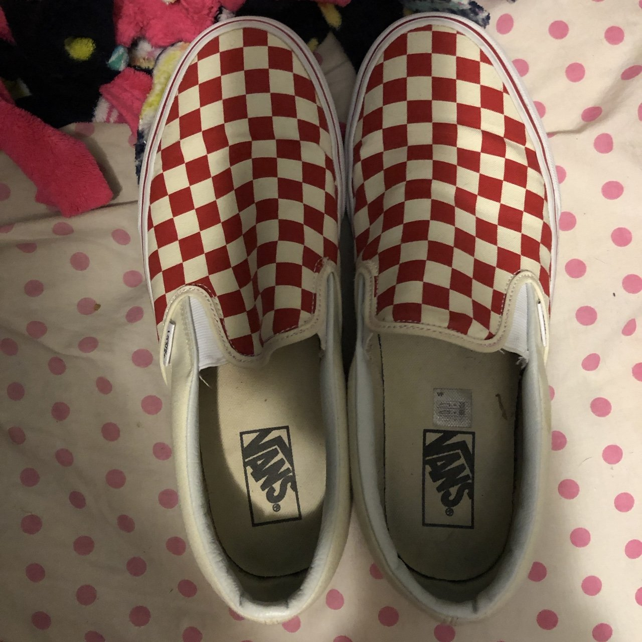 e1eda95045e Like new red checkerboard Vans. Worn MAYBE twice. If bought - Depop