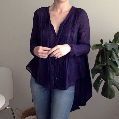 99386a0fd8bac4 @emwall. 2 years ago. Pasadena, United States. Free People Tunic Top Deep  Blue color. Buttons up ...