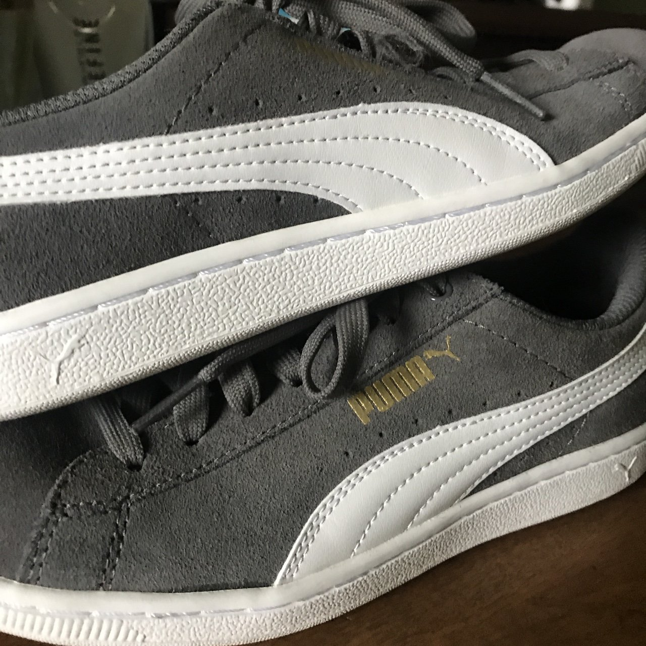 PUMA grey and white classic style suede shoes b2973b596
