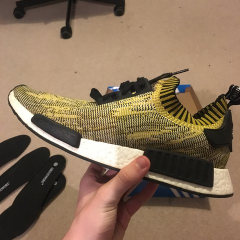 a5f37d1d60ad2 Adidas nmd yellow camo PK UK12 100% authentic purchased new - Depop