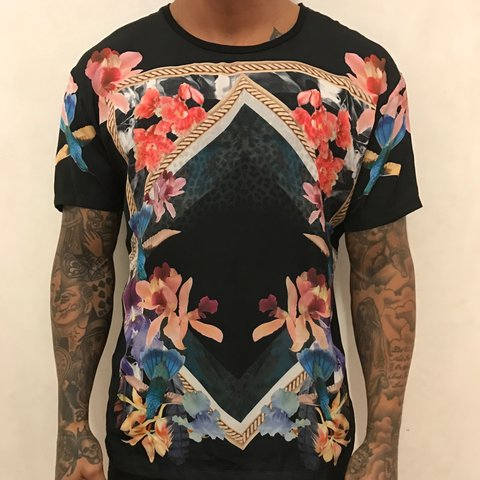 30c2c21d Men's Zara tshirt with flower print silk material on the and - Depop
