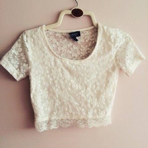 a3541904410ef Topshop crop top size 8. White lace. In good condition only - Depop