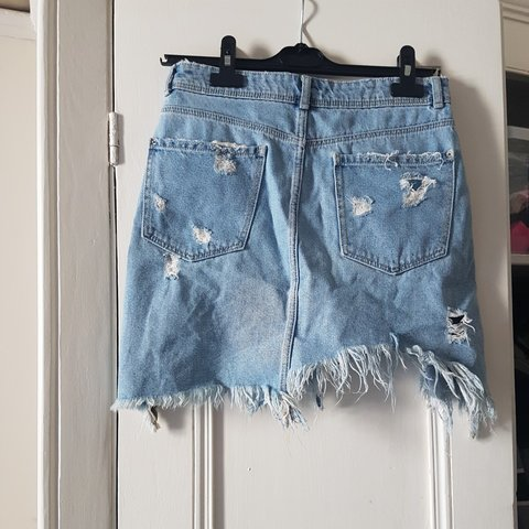 04743bff5f6 Super edgy distressed denim skirt from Zara. Extreme rips a - Depop