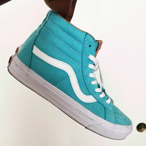 58b1d70a78dc Like new Sk8 Hi Vans • Light Blue White • Women s Size 9 • - Depop