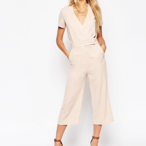 d9c43e3800b0 Pale pink ASOS low cut wrap jumpsuit